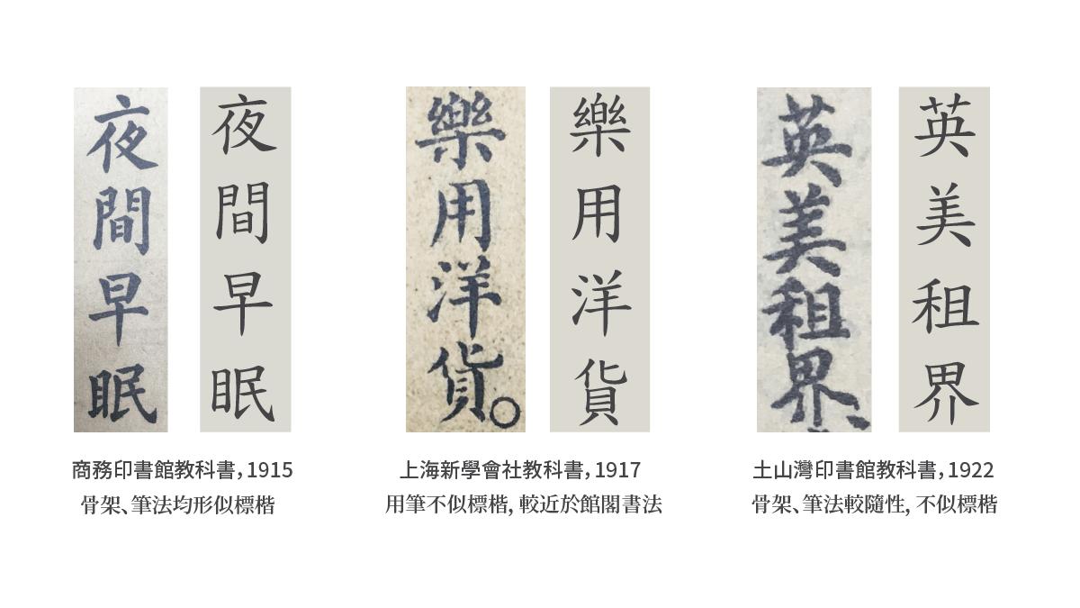 標楷體與上海時期教科書字體之比較