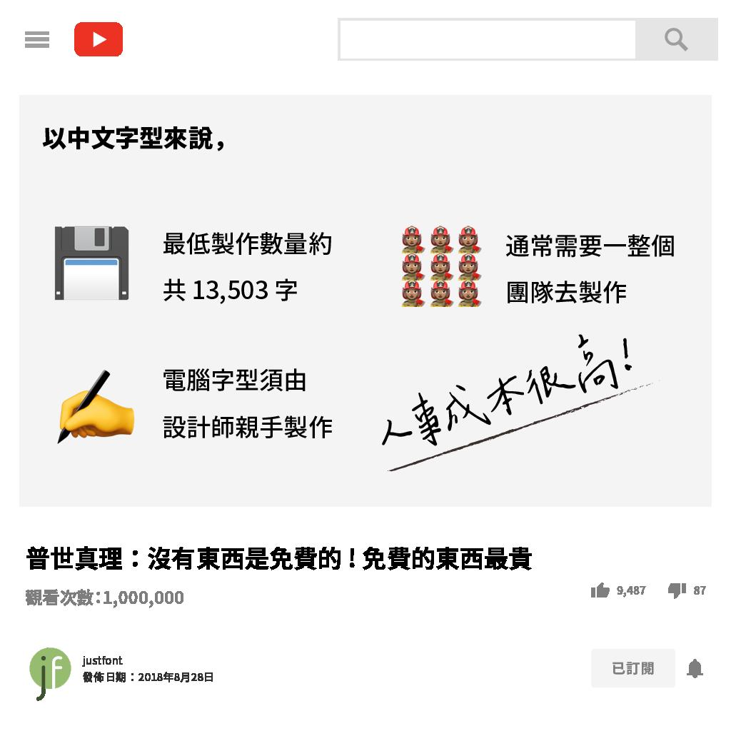 為什麼中文字型成本很高