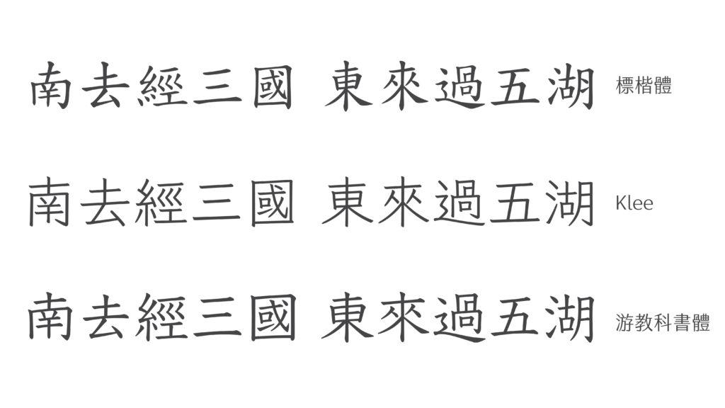 三種字體並列