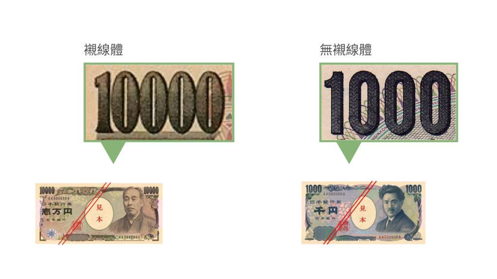 新、舊日鈔萬元比較