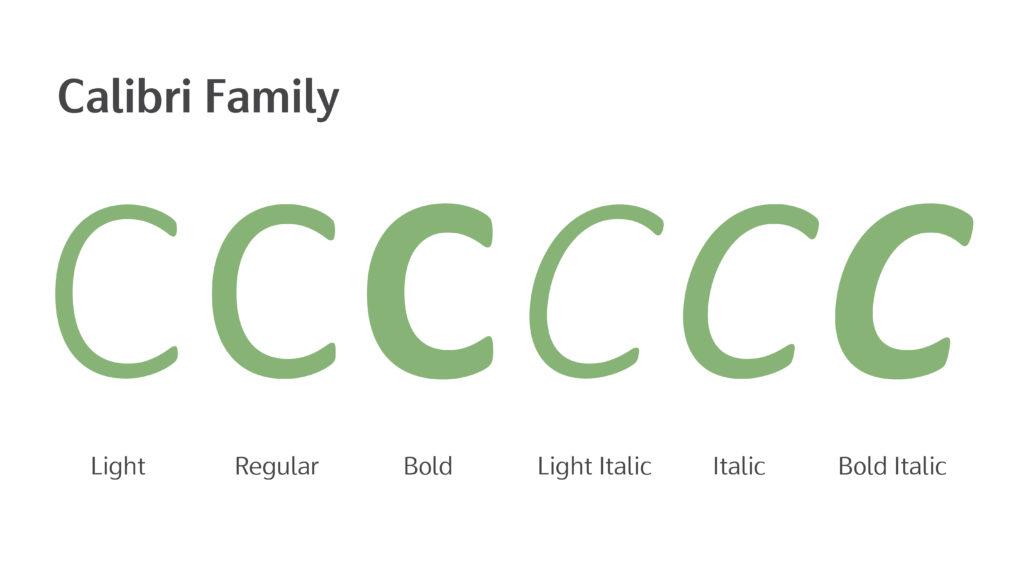 calibri字型家族
